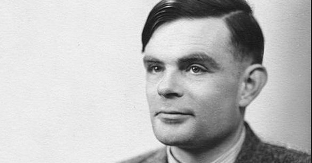 Black and white image of Alan Turing