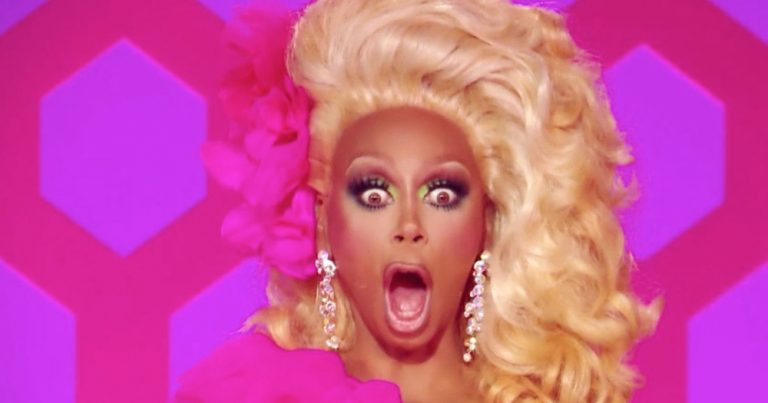 RuPaul looking shocked at the Drag Race finale.