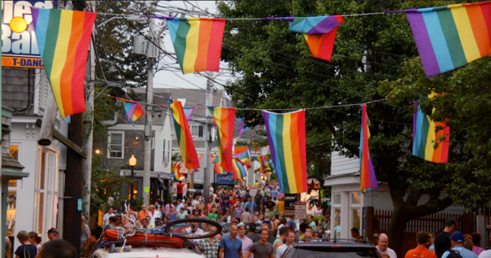 LGBT flags hanging in a Hull neighbourhood