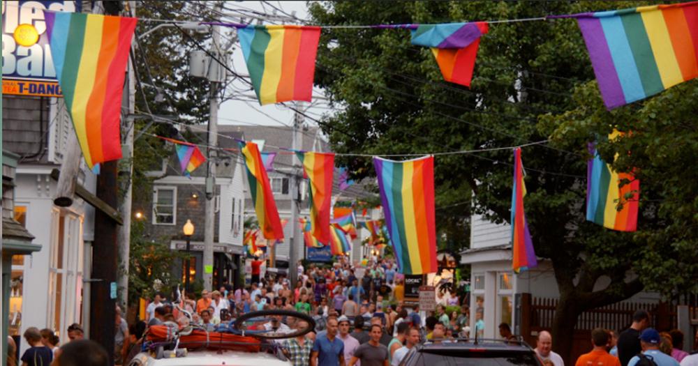 LGBT flags hanging in a Hull neighbourhood
