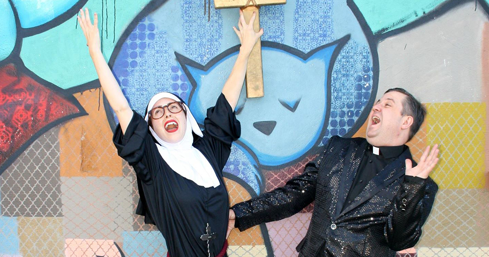 A woman dressed as a nun and a man dressed as a priest pose joyfully in a promotional image for an Irish comedy show