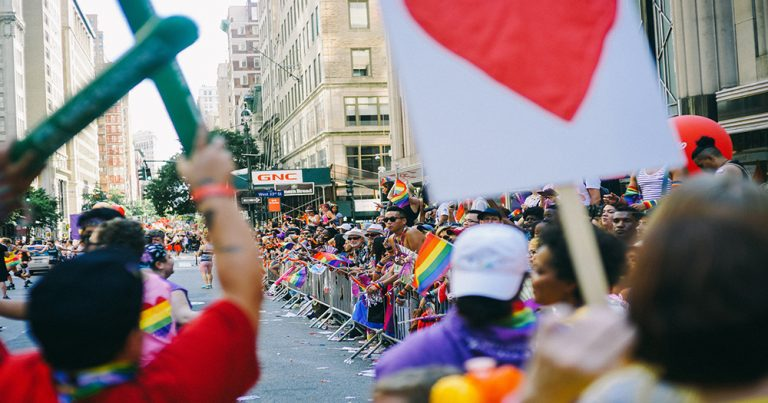 People are on pride parade in Taiwan