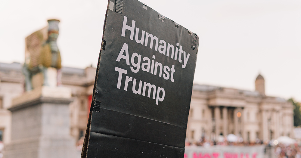 post which reads humanity against Trump
