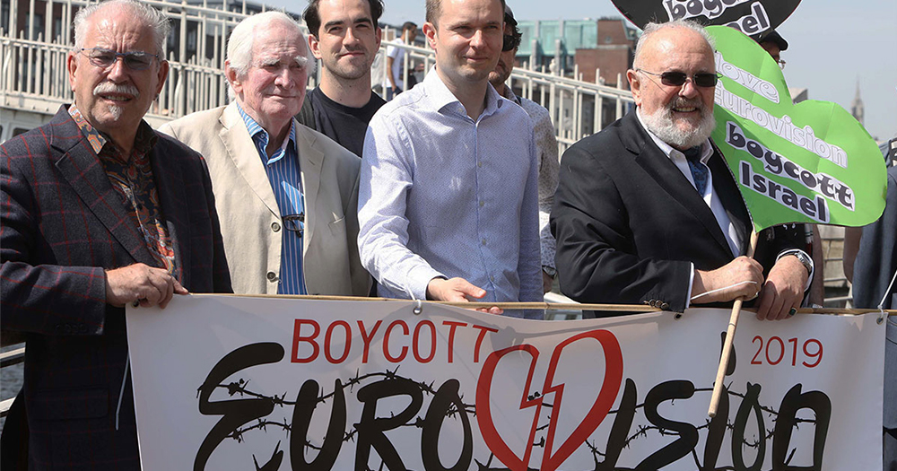 A Boycott Eurovision protest at Hapenny bridge with people such as David Norris and Senator Fintan Warfield