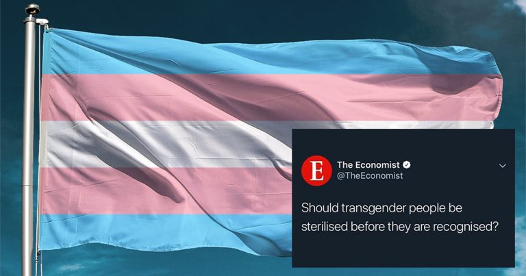 "Trans flag with blue, pink and white colours blowing in the wind with tweet by the economist placed over it on the bottom right, reading: ""Should transgender people we sterilised before they are recognised?"""