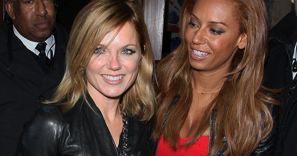 Mel B and Geri Horner leaving an event, a bodyguard behind them