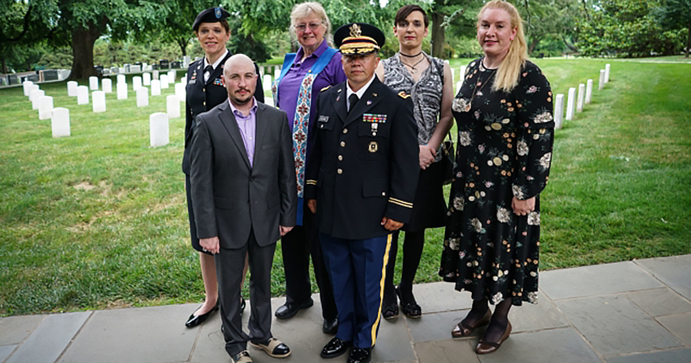 Some of the transgender military personnel affected by the ban