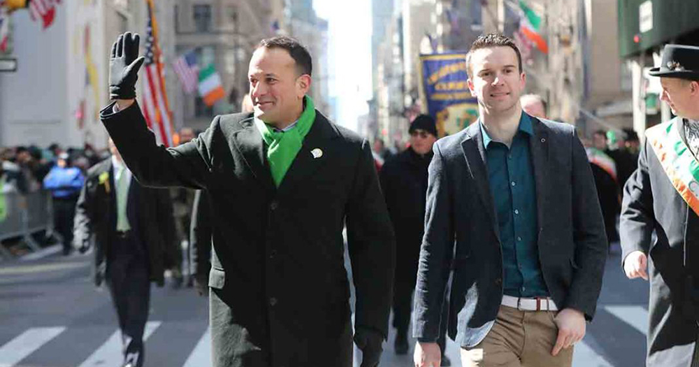 Irish Taoiseach Leo Varadkar (left) and his partner Matt Barrett walk in the St Patrick's Day parade on 5th Avenue in New York City