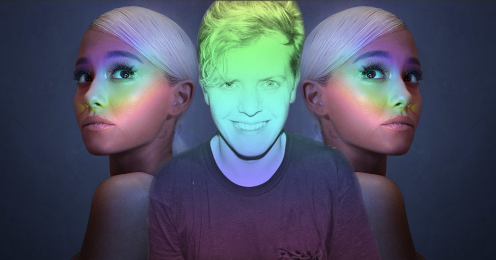 Writer Conor Began superimposed over double images of Arian Grande