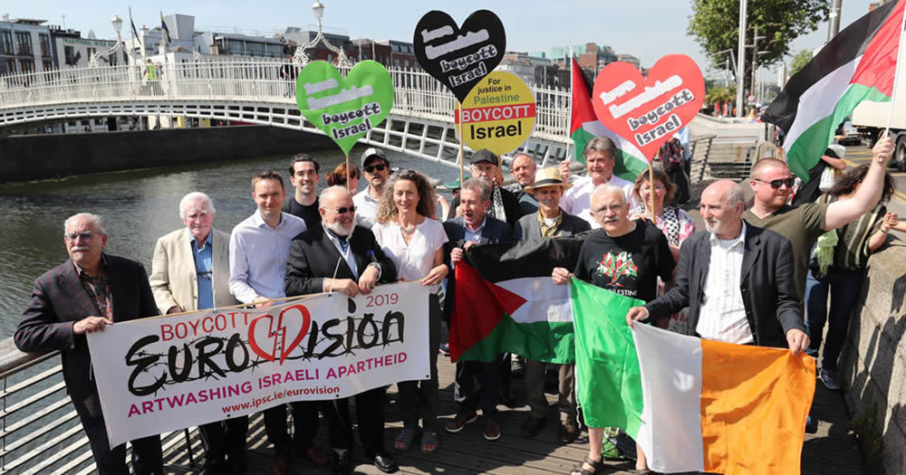 Protesters calling on McTernan and others to boycott Eurovision