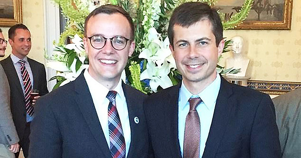 Pete Buttigieg with his husband