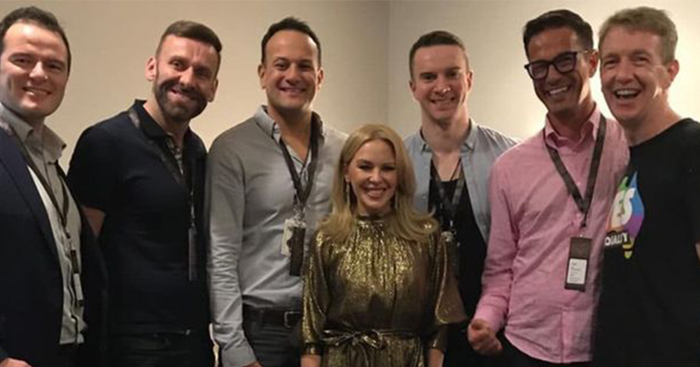 Following a fan letter, Leo Varadkar and 5 friends pose for a photo with Kylie Minogue