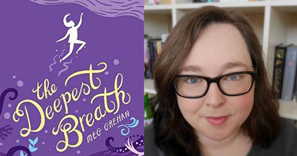 The deepest breath book on left hand side and author Meg Grehan on right hand side