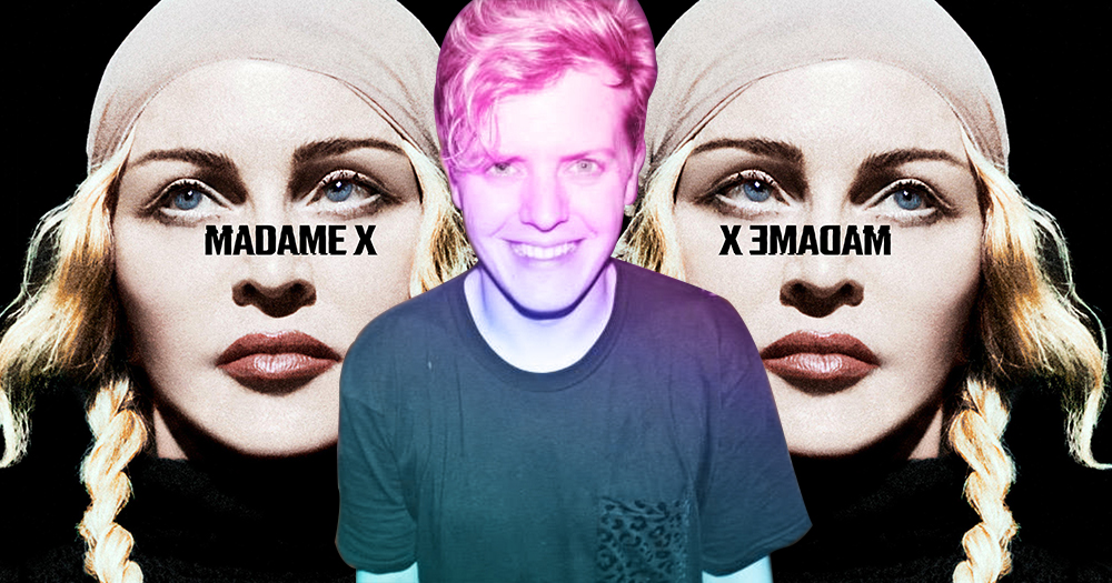 Two mirror images of Madonna with a smiling young man superimposed in the middle