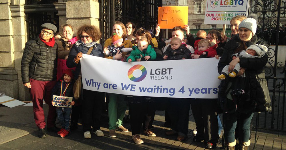 Same-sex parents protest outside Dail demanding civil registration bill