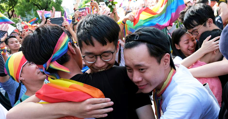 LGBT+ community and allies in Taiwan celebrating the same-sex marriage bill