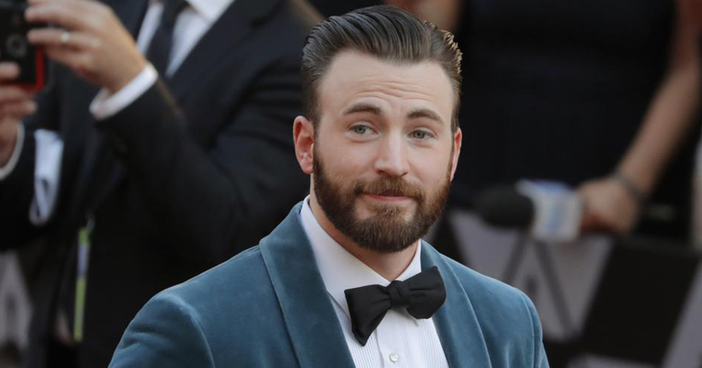 Chris Evans Smiles In Blue Suit