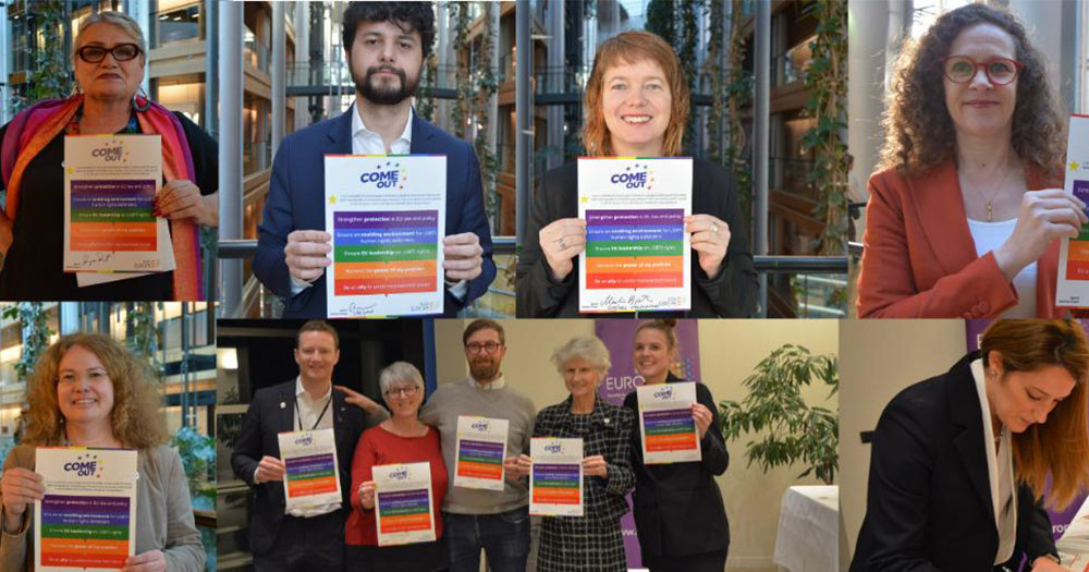Various MEPs who have signed the ComeOut pledge by ILGA