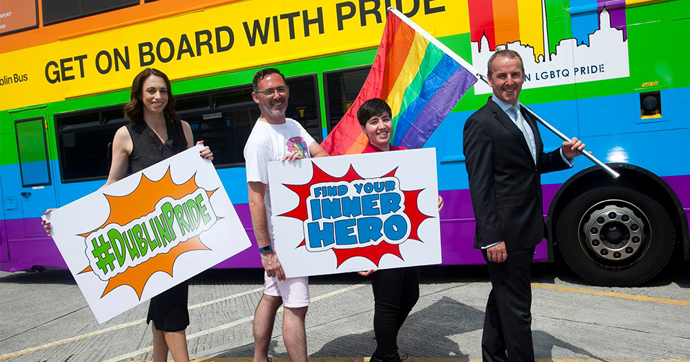 L to R: Vivienne Kavanagh, Eddie McGuinness, Festival Manager Dublin LGBTQ Pride, Clodagh Leonard, Chairperson Dublin LGBTQ Pride, Ray Coyne stand in front of the Rainbow Bus