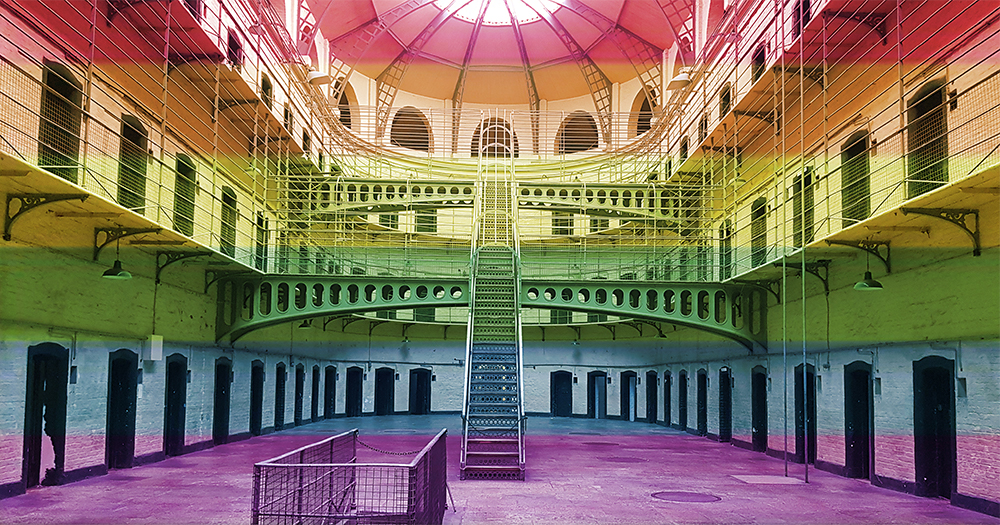 Interior of Kilmainham Gaol overlaid with rainbow colours