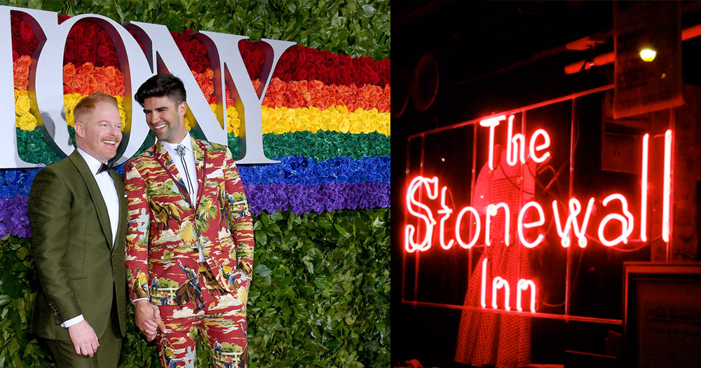 jesse tyler ferguson and husband stand on red carpet juxtaposed next to stonewall inn logo