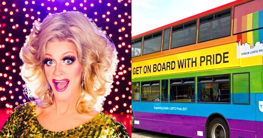A split screen of a Dublin Bus decorated in Pride colours and drag queen Panti Bliss