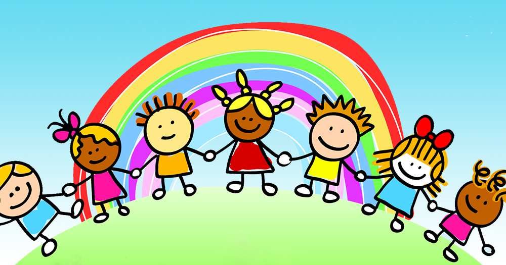 school Children holding hands in front of a rainbow