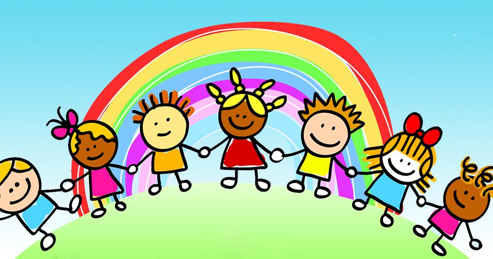 school Children holding hands in front of a rainbow