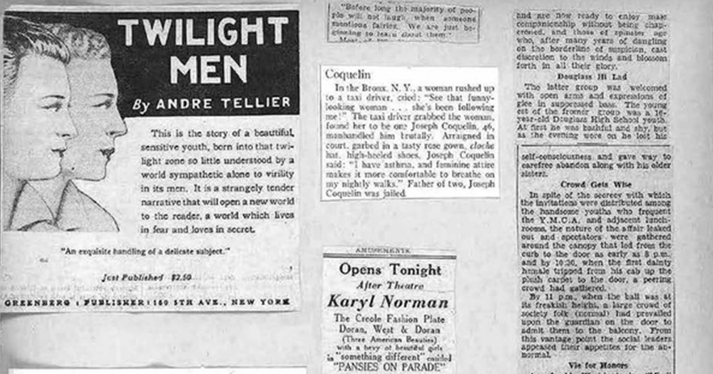 various historical news clippings about queer life on page