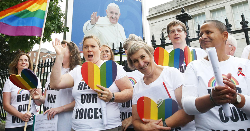 We Are Church, a group of LGBTI and gender non conforming Catholics , sang protest songs outside the RDS after being denied a booth inside the exhibition hall during the World Meeting of Families