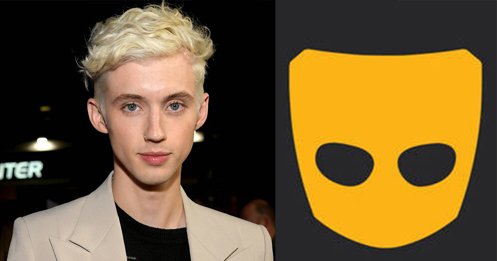 troye sivan next to grindr logo