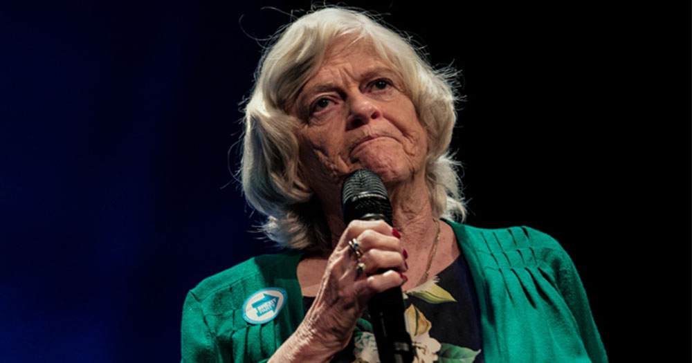 Anne Widdecombe speaking into a microphone before the cancellation of her one-woman show