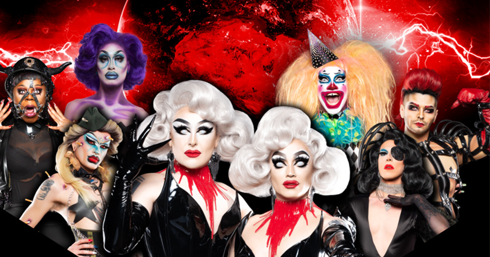The Dragula tour poster featuring spookily dressed drag queens