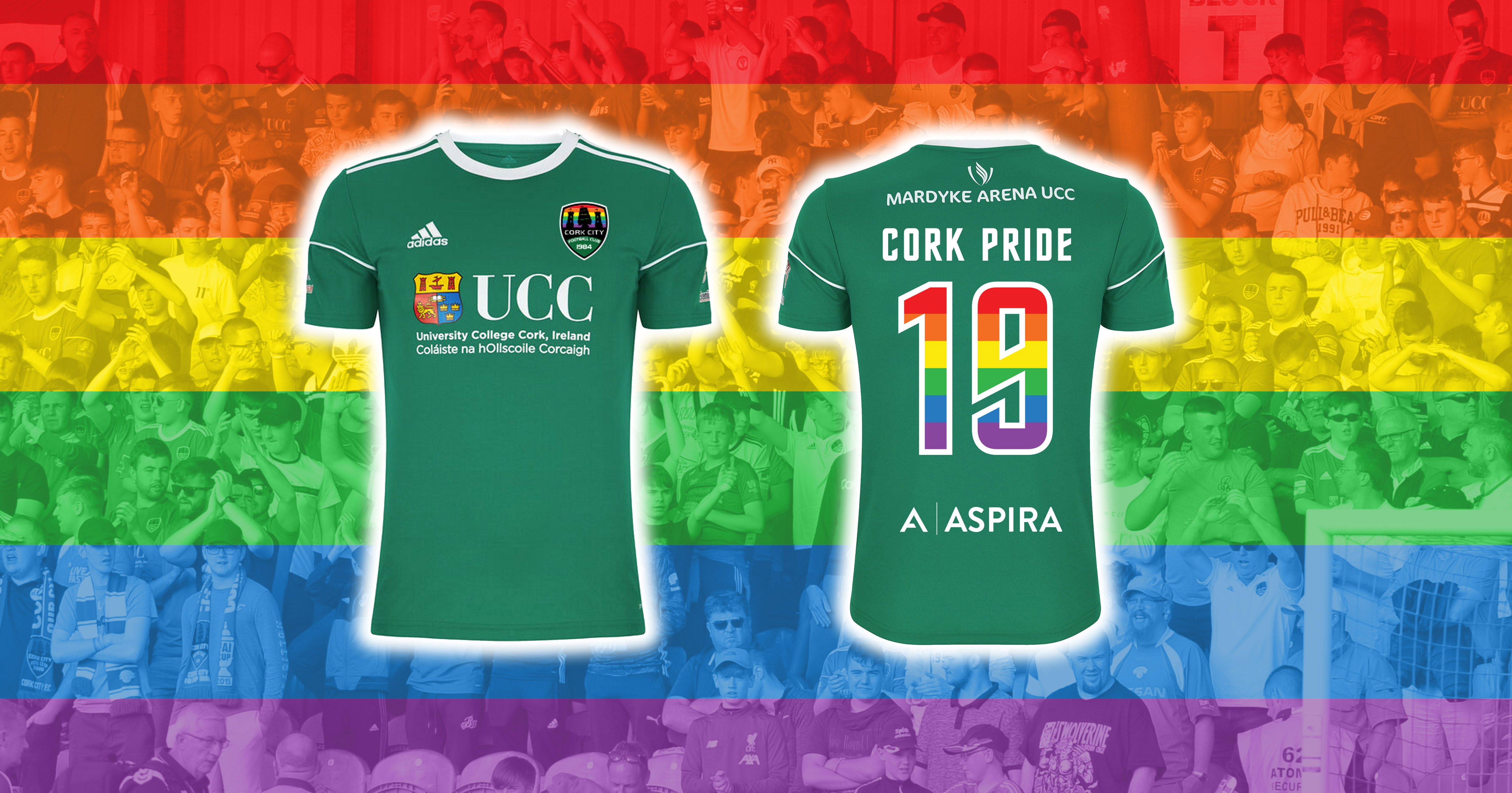 Cork City FC will wear these rainbow-numbered t-shirts at a match on August 2nd to show solidarity with the LGBT+ community
