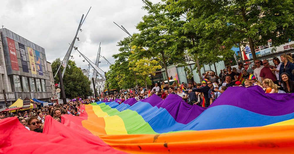 Pride Flag being held in Cork City