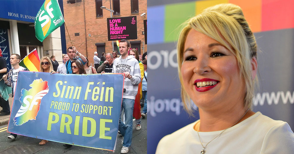 Split screen of a Sin Féin Pride march and their Vice President Michelle O'Neill