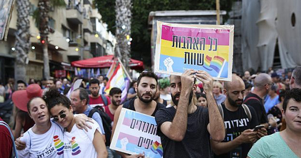 In Israel hundreds protested the situation for LGBT+ people, holding rainbow coloured placards