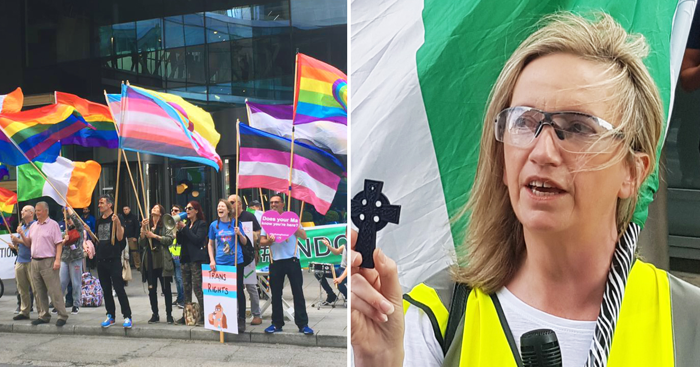 Demonstrators holding rainbow flag outside Google HQ and Gemma O'Doherty