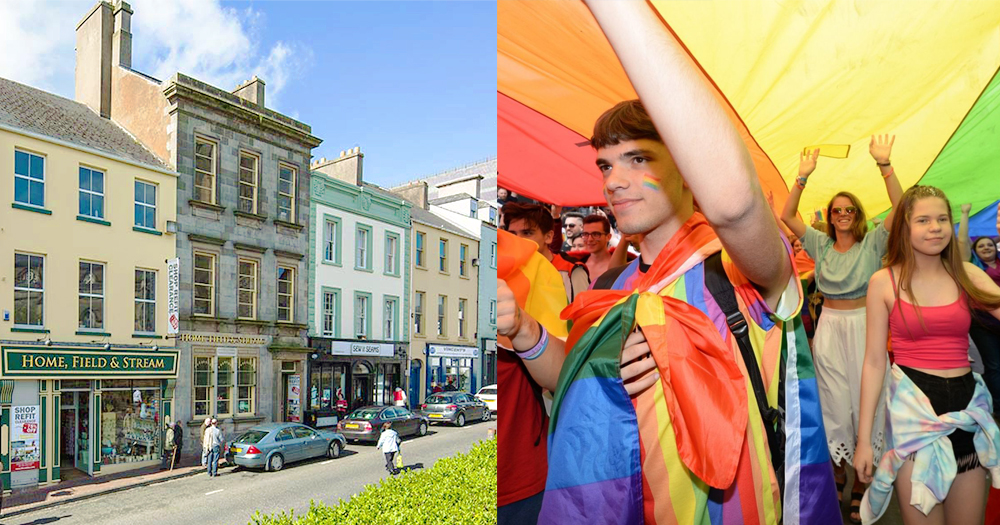 On the left an image of Fermanagh town. On the right LGBT+ youth at Dublin Pride carrying a rainbow flag