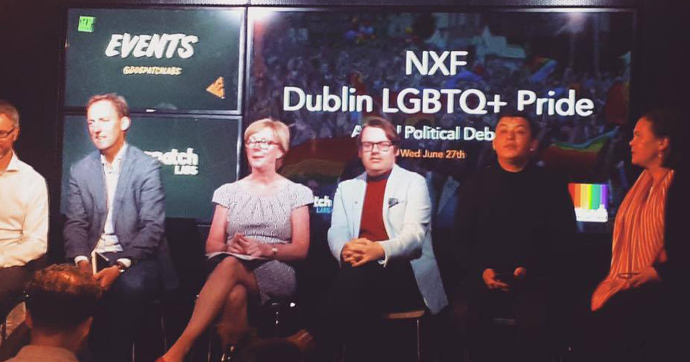 political equality panel sits in front of screen reading