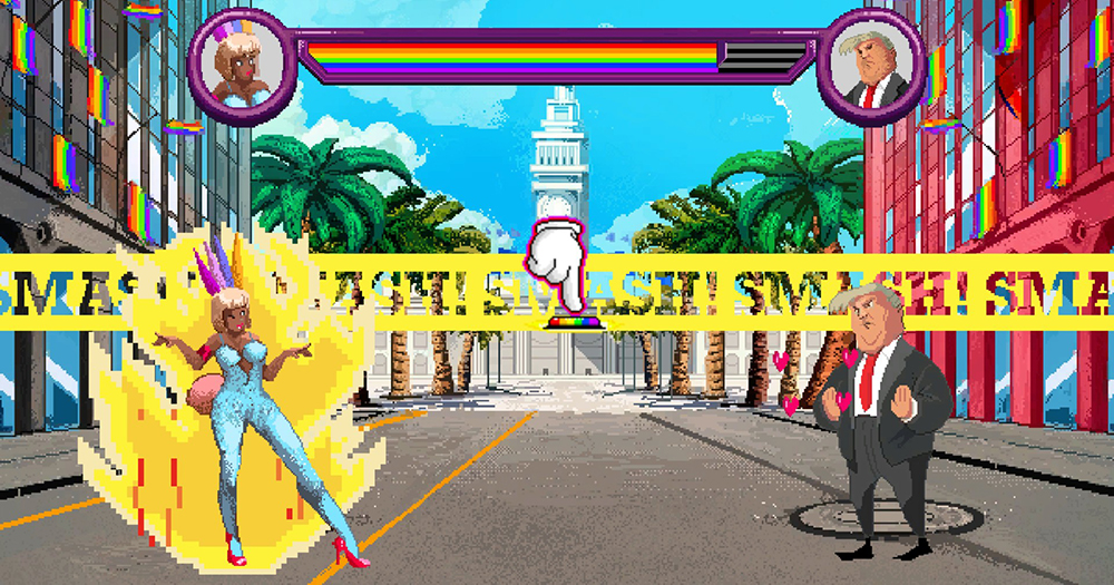Pride Run, the video game: A video game setting in which a drag queen dances off against Donald Trump