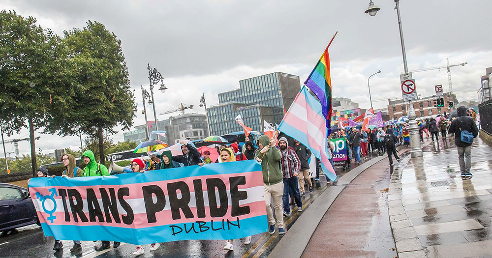 The Trans Pride march making its way through Dublin City centre