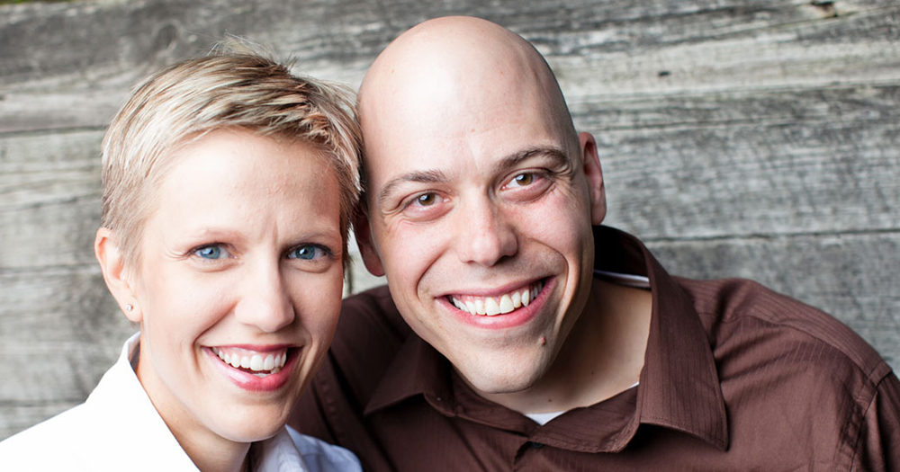 Christian filmmakers Carl and Angel Larson smile creepily at the camera.