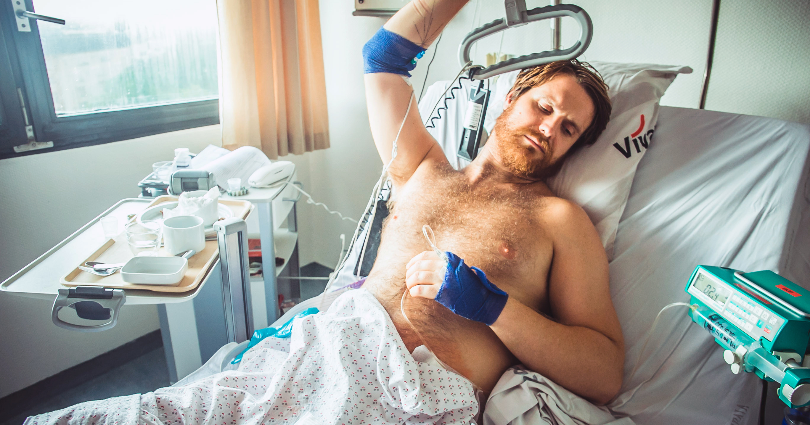 Danny Polaris in an hospital bed. Danny was hospitalised with life-threatening erection