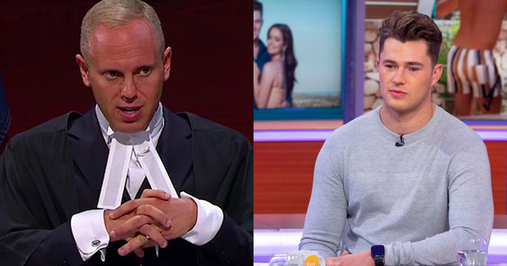 Split screen between Judge Rinder on his TV show and Curtis Pritchard during the Good Morning Britain interview.