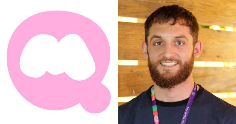 The QuestionMark company logo alongside a photo of a smiling bearded man