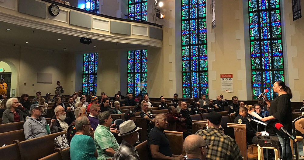 LGBT+ community and San Francisco police gathering for the first reconciliation meeting in the Methodist Church.