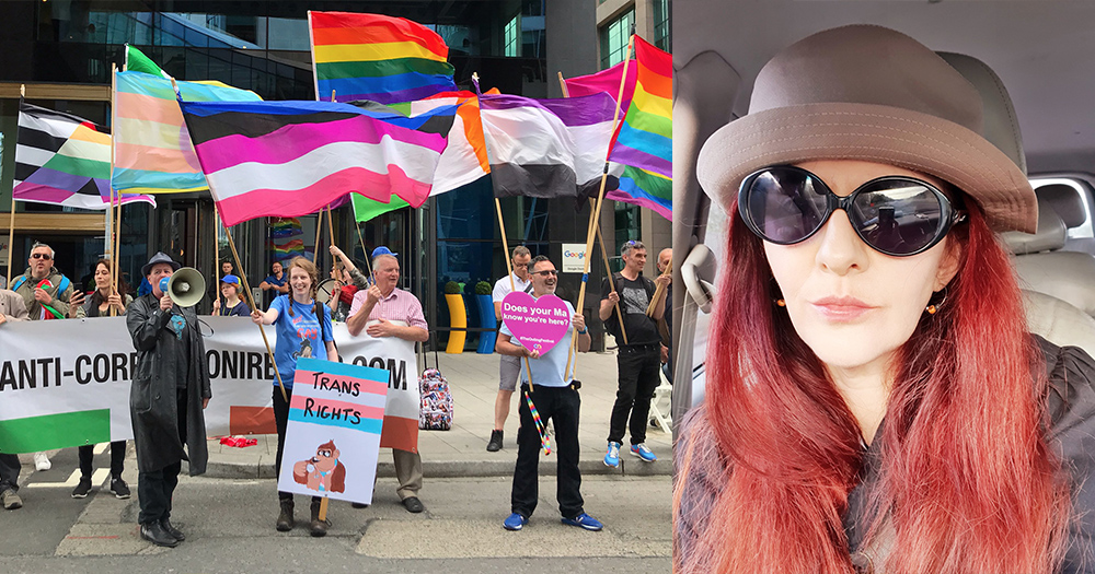 Counter protest with LGBT+ flags from last Friday and Fiona Pettit