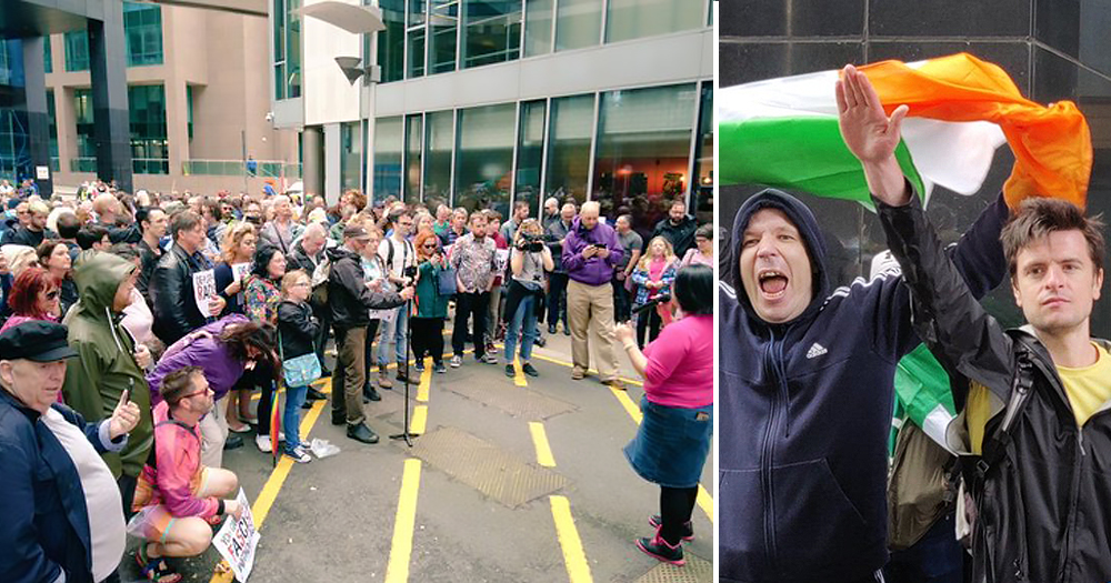 The Speakers Unicorner protest split screen with men giving Nazi salute outside Google