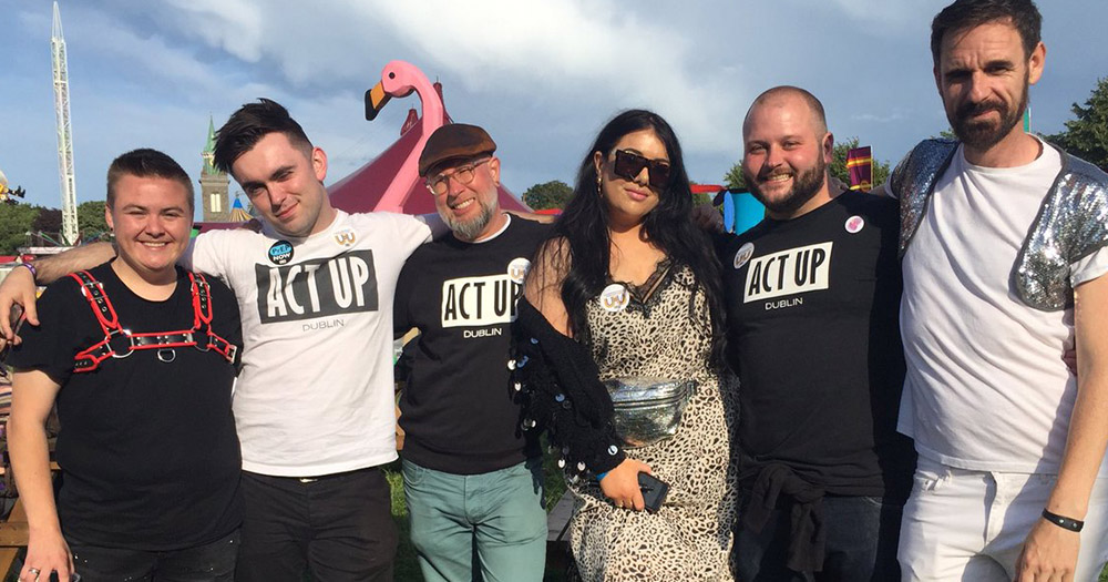 Noah Haplin standing with people from Act UP Ireland, such as Will St Leger and Holly Shortall, at Love Sensation.